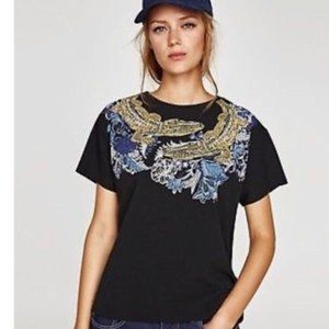 Zara Alligator Black T-Shirt